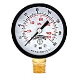 "Winters PEM Series Steel Dual Scale Economical All Purpose Pressure Gauge with Brass Internals, 0-160 psi/kpa 2"" Dial Display, -3-2-3% Accuracy, 1/4"" NPT Bottom Mount"