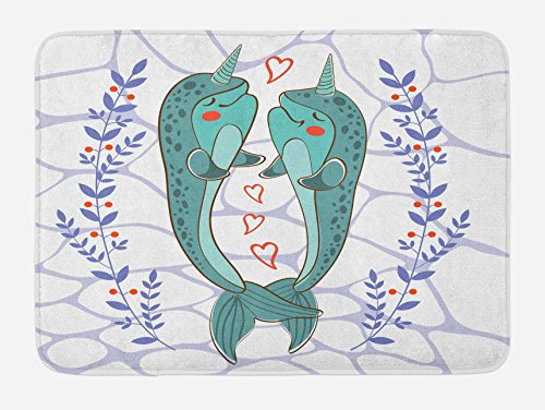 Narwhal Bath Mat by Ambesonne, Valenties Day Themed Illustration with Colorful Whales in Love Aquatic Adoration, Plush Bathroom Decor Mat with Non Slip Backing, 29.5 W X 17.5 W Inches, - Day Ideas Valenties