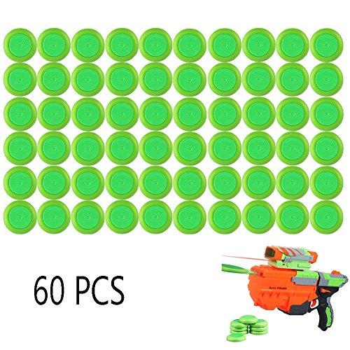 6MILES 60 PCS Safety EVA Foam Soft Refill Discs Bullet Darts Equipment Set for Nerf Vortex Blaster Praxis Nitron Vigilon Proton Ammo Toy Gun Parts Play Game (Green)
