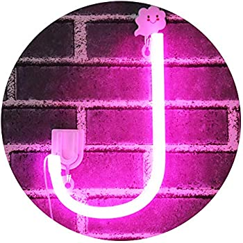 Light Up Letters Neon Signs, Pink Marquee Letter Lights Wall Decor for Christmas, Birthday Party, Bar Valentine's Day Words-Pink Letter J