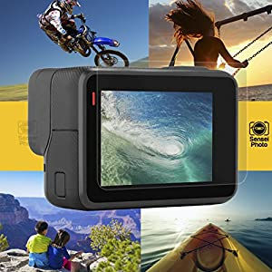 (6 Pack) SENSEIPHOTO Screen Protector for GoPro Hero 6 Black Hero 5 Black + Lens Cap lense Hero6 Hero5 Action Sport Camera Tempered Glass Film Go Pro Accessories protection screens Warranty Sensei