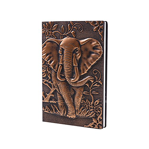 World Traveler Style Leather Embossed Elephant Journal Diary Notebook Retro Elephant Notebook (A5, 100 Sheets) - Embossed Elephant