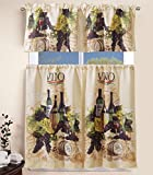 wine and grape kitchen curtains - Elegant Home Collection 3 Piece Wine Bottles Vino Grapes Design Kitchen Window Curtain Set Tiers and Tailored Valance Window Treatment Set # Amalfi