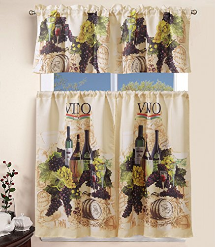 (Elegant Home Collection 3 Piece Wine Bottles Vino Grapes Design Kitchen Window Curtain Set Tiers and Tailored Valance Window Treatment Set #)
