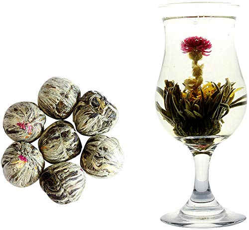 Hand Made Blooming Flower Tea, 7 pcs with 6 flowers included (e.g, rose, jasmine, and etc), 2 ounces,TEADAW