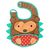 Skip Hop Zoo Little Kid and Toddler Tuck-Away Water Resistant Baby Bib, 6 Months +, Multi Hudson Hedgehog