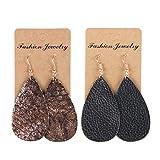 YOUTH UNION 2 Pairs Genuine Leather Earrings Vintage Boho Shard Lattice Teardrop Leaf Dangle Pierced Earrings (Style 1)