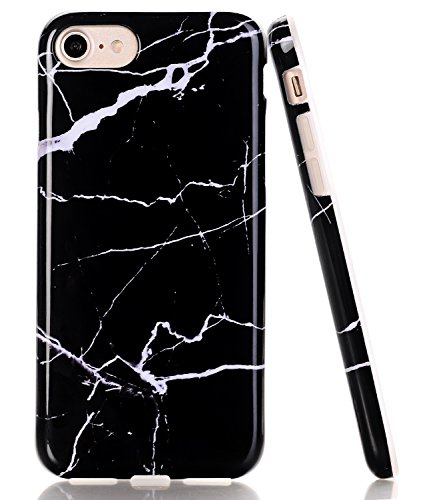 iPhone 8 Case, Black/White Marble Design, BAISRKE Glossy Flexible Soft Silicone Bumper Shockproof Cover for Apple iPhone 8 (2017)/iPhone 7 (2016) 4.7 inch