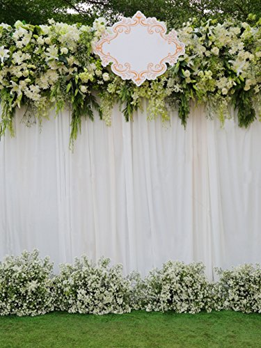 Outdoor Photography Background Beautiful White and Green Backdrop Flowers Arrangement Over White Fabric for Wedding Ceremony Stage Photo Studio Shooting Prop 57 ft 5189