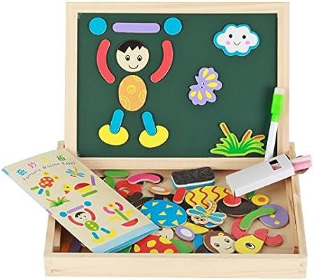 Puzzles de madera con imanes para niños pizarra magnética infantil doble cara verde y blanco con rotulador y tizas juguete educativo rompecabezas ...