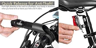 Juego de Luces para Bicicleta - Luces LED Súper Brillantes para su Bicicleta - Fácil Montaje del Faro Delantero y la luz Trasera con Sistema de Liberación Rápida - Se Adapta a