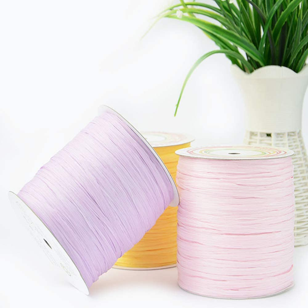 Natural Cotton Raffia Yarn Sun Hat Yarn Beach Bag Yarn DIY Craft Gift Box Packing Twine Raffia Ribbon Knitting Materials Lemon Yellow 200M//218 Yards