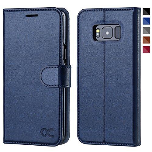 OCASE Samsung Galaxy S8 Case Leather Flip Wallet Case For Samsung Galaxy S8 Devices - Blue (Leather Flip Case)