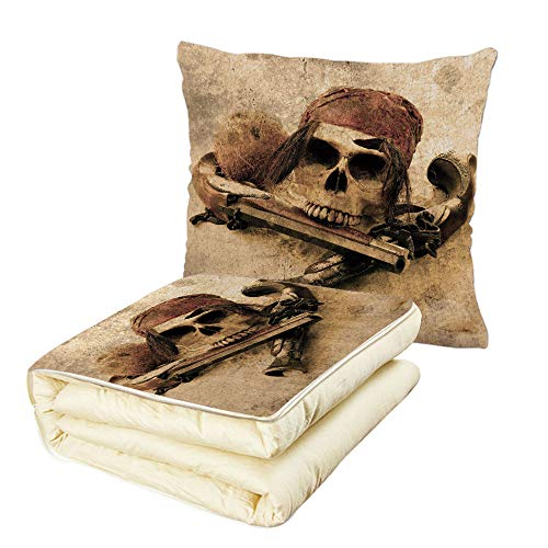 iPrint Quilt Dual-Use Pillow Pirate Pirate Skull with Headscarf and Guns on Beach Grunge Display Danger Robbery Death Decorative Multifunctional Air-Conditioning Quilt Light Brown