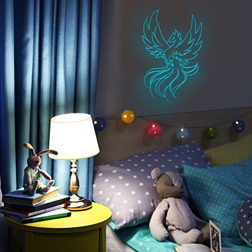 (Glow in the Dark ​Phoenix​ Decal Sticker​ - ​Bright, Luminous Wall Stickers for Kids Bedrooms, Ceilings, Nurseries​ - ​Nighttime Glowing​ Mythical Bird ​Decorative Artwork for Boys and Girls Room)