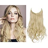 Hair Extension Halo Curly Long Synthetic Hairpiece Pale Ash Blonde 16 Inch 3.9 Oz Hidden Wire Headband for Women Heat Friendly Fiber No Clip SARLA(M03&24/613)