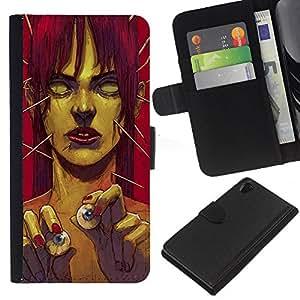 Sony Xperia Z2 D6502 D6503 D6543 L50t L50u , la tarjeta de Crédito Slots PU Funda de cuero Monedero caso cubierta de piel ( Zombie Art Eye Balls Green Monster Redhead)