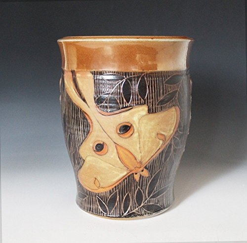 Pottery vase decorated with sgraffito carved Luna Moth