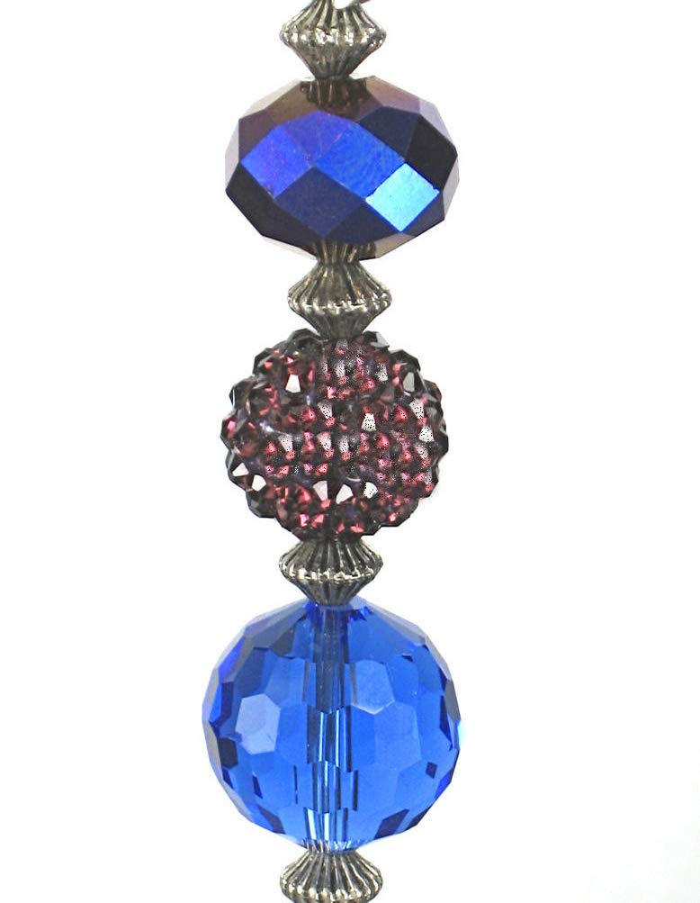 Royal Cobalt Blue and Purple Glass & Rhinestone Ceiling Fan Pull Chain