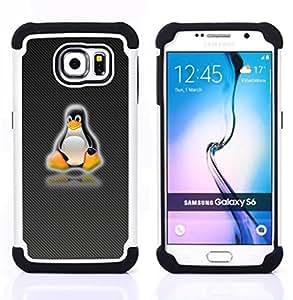 BullDog Case - FOR/Samsung Galaxy S6 G9200 / - / Linux Penguin /- H??brido Heavy Duty caja del tel??fono protector din??mico - silicona suave
