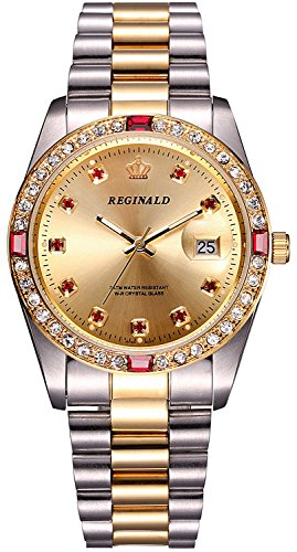 - REGINALD Unisex Watch Luminous Hands Sapphire Gold Stainless Steel Quartz Diamonds Dial Watches (Silver Gold/Gold)
