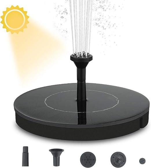 Welltop Bomba de Fuente Solar, Bomba de Agua Solar renovada 2.4W Fuentes solares flotantes Fuente de baño para pájaros de pie Libre para Estanque, Piscina, jardín, Patio Trasero: Amazon.es: Jardín