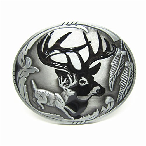 Rebel Flag Belt Buckle (MASOP American Indians Cool Animal Elk Deer Oval Belt Buckle Men Christmas Gift)