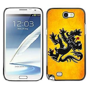Caucho caso de Shell duro de la cubierta de accesorios de protección BY RAYDREAMMM - Samsung Galaxy Note 2 N7100 - Flanders Grunge Flag