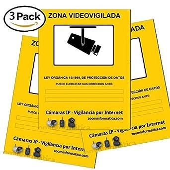 Pack 3 carteles A4 rigido zona vigilada videovigilada de adhesivo camara camaras informativo LOPD