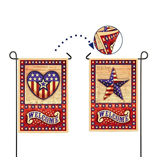 Welcome American Star and Heart Two Sided Garden Flag