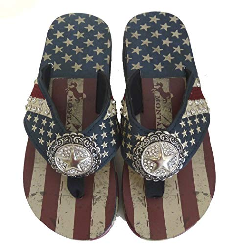 Montana West Ladies Flip Flops American Pride USA Flag Navy Blue, 9 M - Thong Embroidered Open