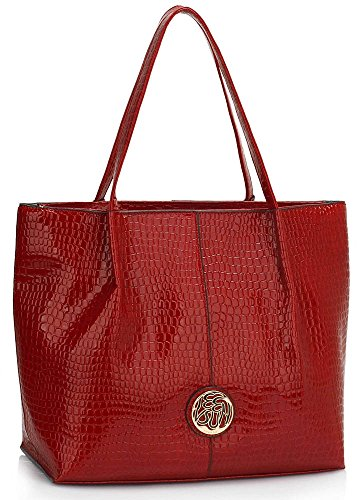 LeahWard Large Size Women's Nice Designer Shoulder Bags Ladies Quality Tote Bag Handbags 454 Patent Bag-Burgundy/Red
