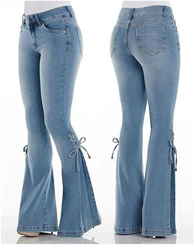 Mujer Cintura Elastica Pantalones Vaqueros Rasgado Sueltos Jeans Pantalones De Mezclilla Vaqueros Ropa