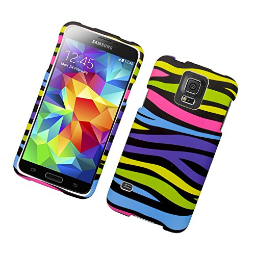 Galaxy S5 Case, Insten Zebra Rubberized Hard Snap-in Case Cover for Samsung Galaxy S5 SM-G900, Colorful