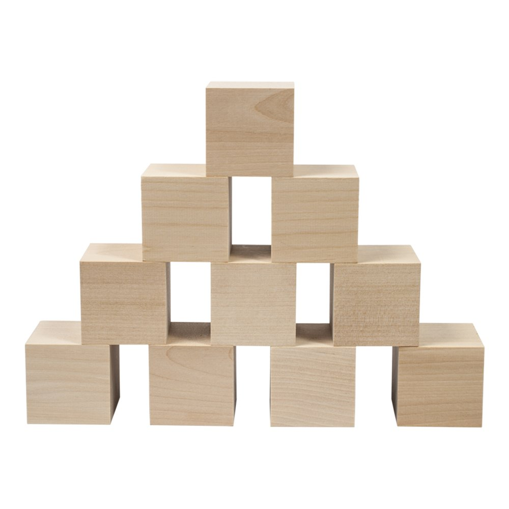 Wooden Cubes - 2 Inch - Wood Square Blocks For Photo Blocks, Crafts & DIY Projects (2'') - by Craftparts Direct - Bag of 10