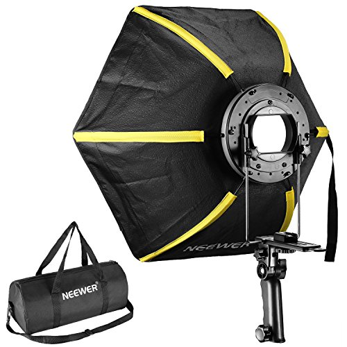 (Neewer 20 inches/50 centimeters Professional Hexagonal Softbox Collapsible Diffuser with Handle Grip for Speedlight Studio Flash for Portrait or Product Photography (Black/Yellow))