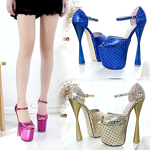 Pump Super Wedding Heel Platform Women's Toe 1279 Extreme Block High Shoes Peep Rose HTwqnxw4