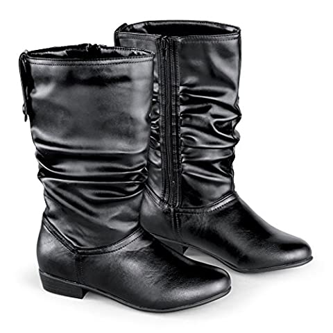 Faux Leather Mid Calf Slouch Boots w/ Low Heel, Black, 9 - Leather Scrunch Boot