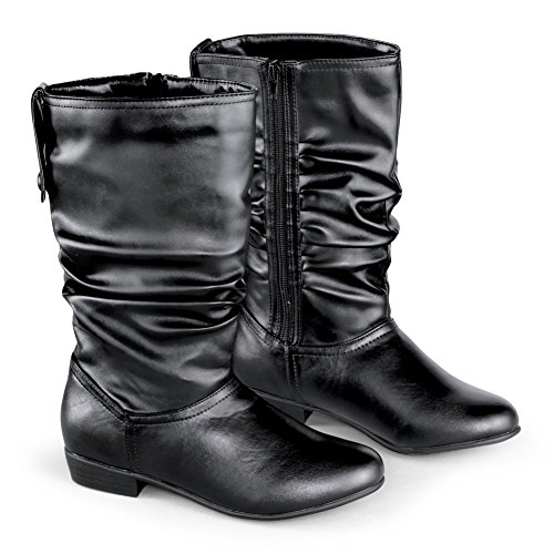 Faux Leather Mid Calf Slouch Boots w/ Low Heel, Black, 9 by Collections Etc
