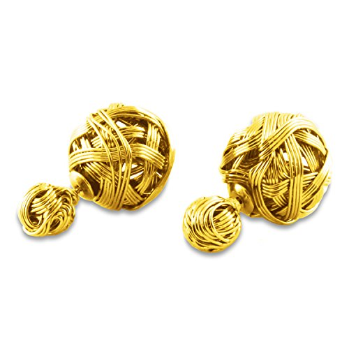 Fashion Honey Gold Ball Wire Design Stud Earrings