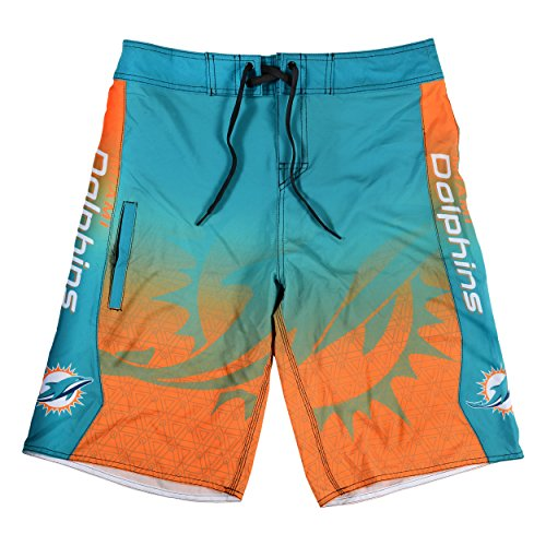 Nfl Team Boardshort (KLEW NFL Miami Dolphins Gradient Board Shorts, Small, Green)