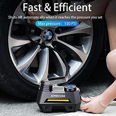 joyroom Portable Air Compressor Tire Inflator CZK-3631, Car Tire Pump with Digital Pressure Gauge (150 PSI 12V DC), Bright Emergency Flashlight - for Auto, Trucks, Bicycles, Balls: Automotive