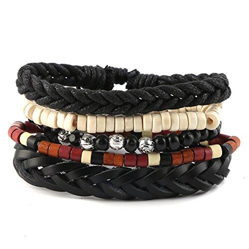 HZMAN Mix 5 Wrap Bracelets Men Women, Hemp Cords Wood Beads Ethnic Tribal Bracelets, Leather Wristbands
