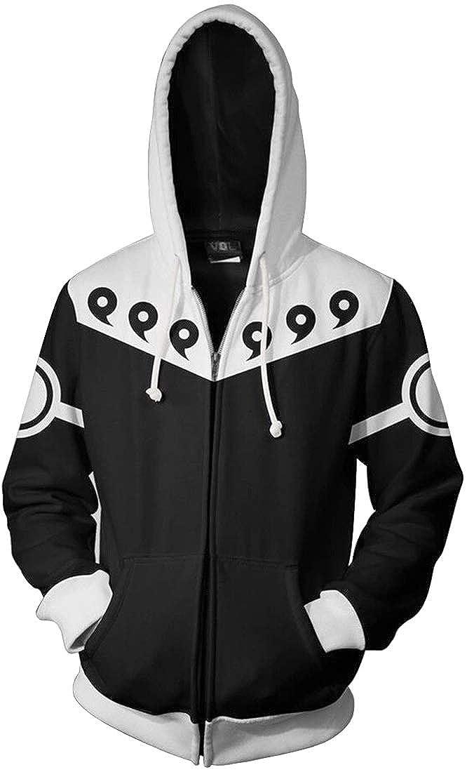 FLYCHEN Giacca Naruto per Uomo con Zip Moda Grafico Stampato Digitale Felpa Fans Uzumaki Otaku Ninjia Fashion Mens Jacket Nuruto Anime
