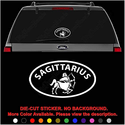 (Sagittarius Horoscope Die Cut Vinyl Decal Sticker for Car Truck Motorcycle Vehicle Window Bumper Wall Decor Laptop Helmet Size- [8 inch] / [20 cm] Wide || Color- Gloss White)
