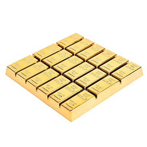 - SABLUE Gold Bullion Coaster Home decorative Gold Bar Coaster Tea Coaster Cup Mat Christmas Gift Novelty Toy Cocktail (D0-Coaster)