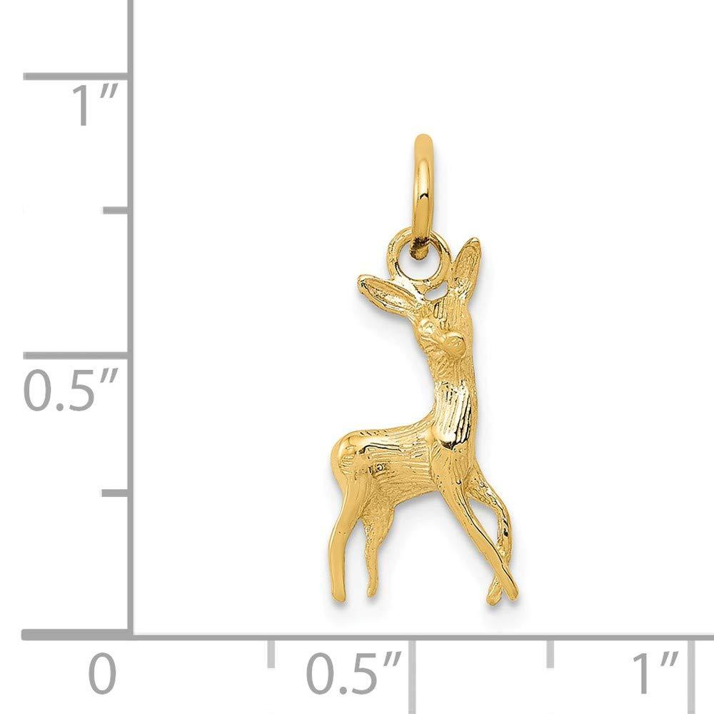 14k Polished Open-Backed Deer Charm