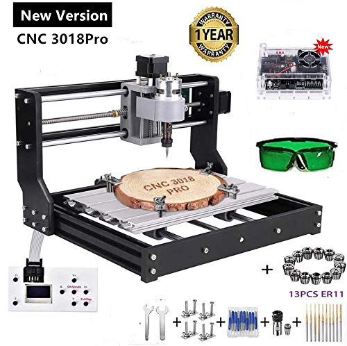 Upgraded Version CNC 3018 Pro Engraving Machine, 3 Axis GRBL Control Mini DIY CNC Router Kit with Offline Controller ER11 and 5mm Extension Rod, Working Area 300x180x45mm