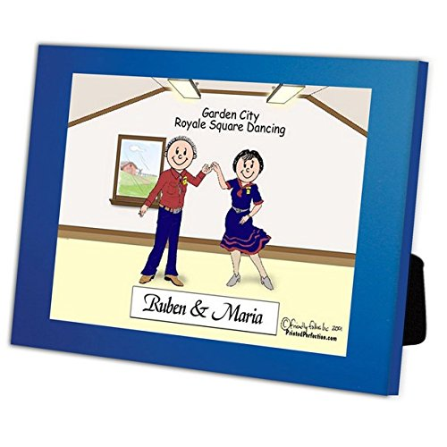 Personalized Friendly Folks Cartoon Caricature in a Color Block Frame Gift: Square Dance Couple by Printed Perfection (Image #3)