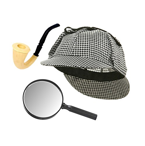 [Sherlock Holmes Houndstooth Detective Hat With Costume Pipe & Magnifying Glass] (Sherlock Holmes Costume Robert Downey Jr)